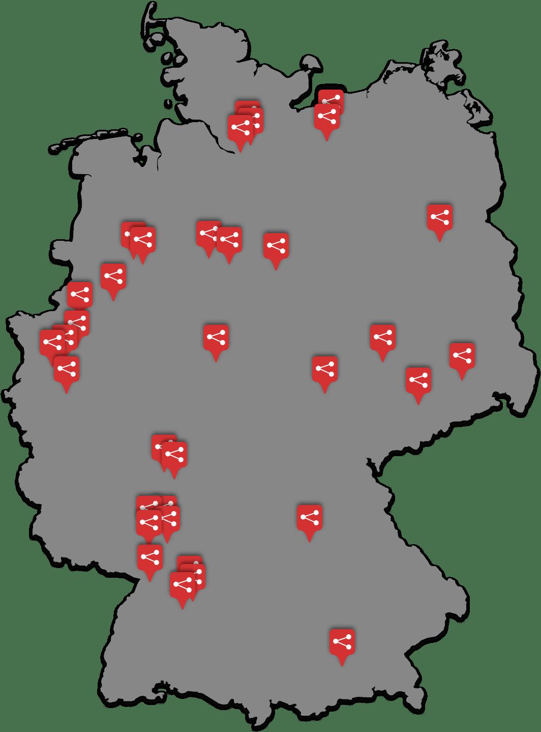 Karte mit Standorten deutschlandweit