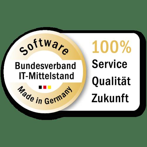 Siegel vom Bundesverband IT-Mittelstand: Software Made in Germany, 100% Service Qualität Zukunft
